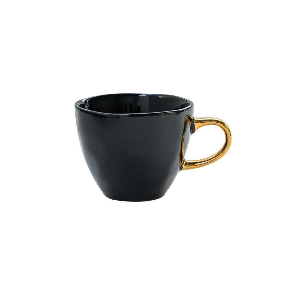 Good Morning espresso cup, black glaze with gold-finish handle.