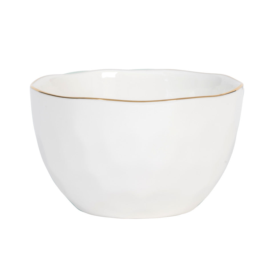 Good Morning bowl, white glaze with gold-finish rim.