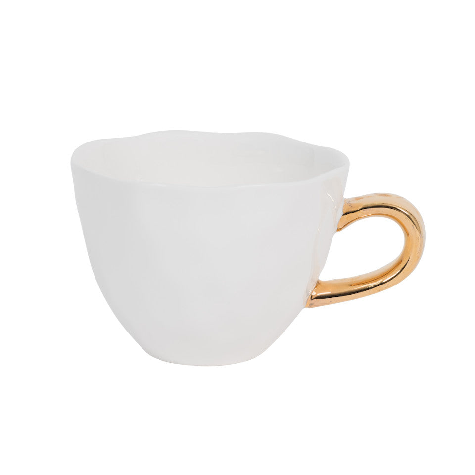 Good Morning cup, white glaze with gold-finish handle.