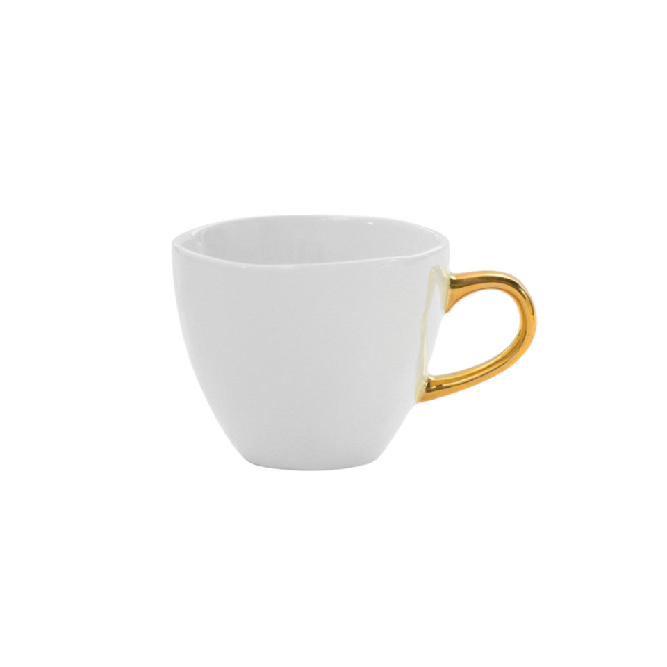 Good Morning espresso cup, white glaze with gold-finish handle.