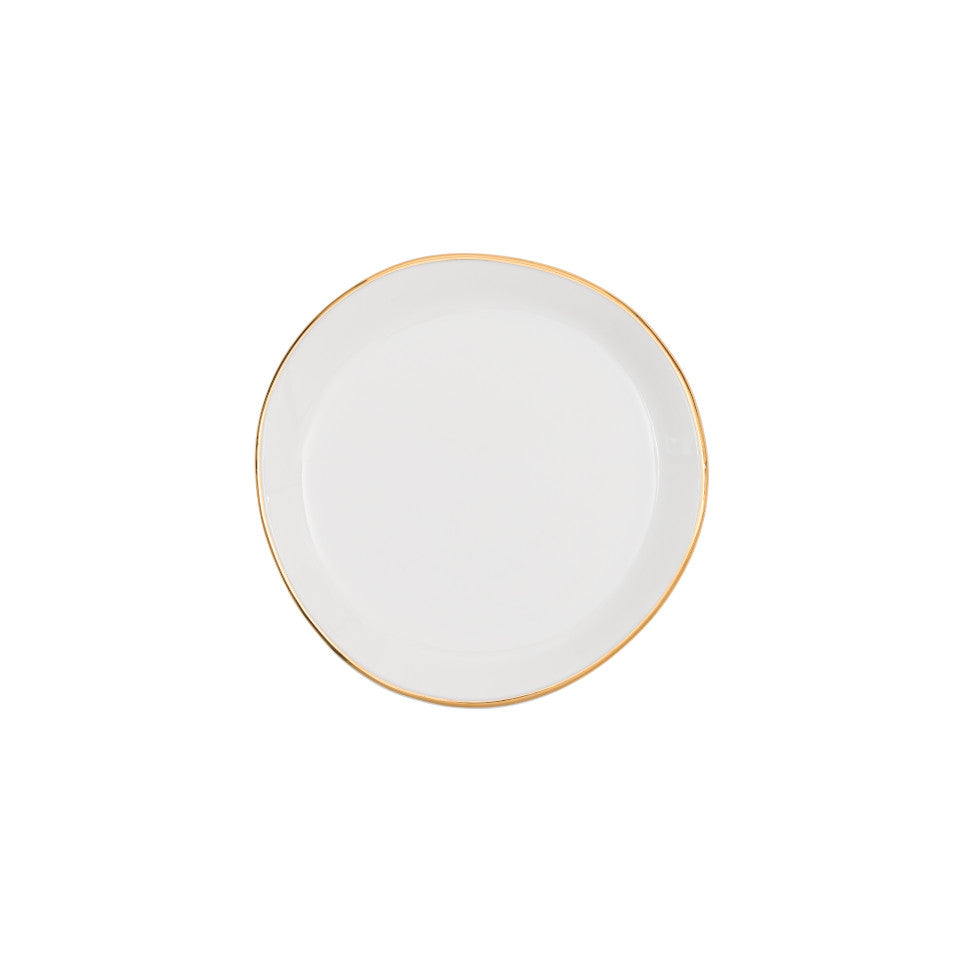 Good Morning small plate, white glaze with gold-finish rim.
