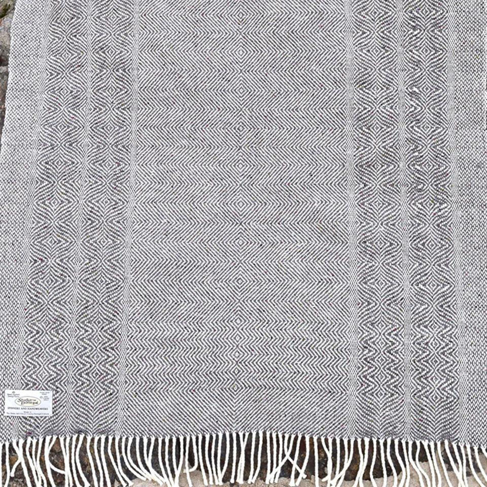 Studio Donegal undulating twill large wool throw, granite.
