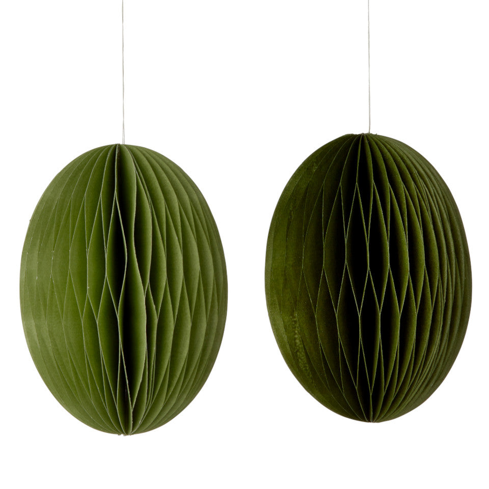 Grass (2 shades of green) swirl Easter large eggs, set of 2 paper honeycomb hanging decorations.