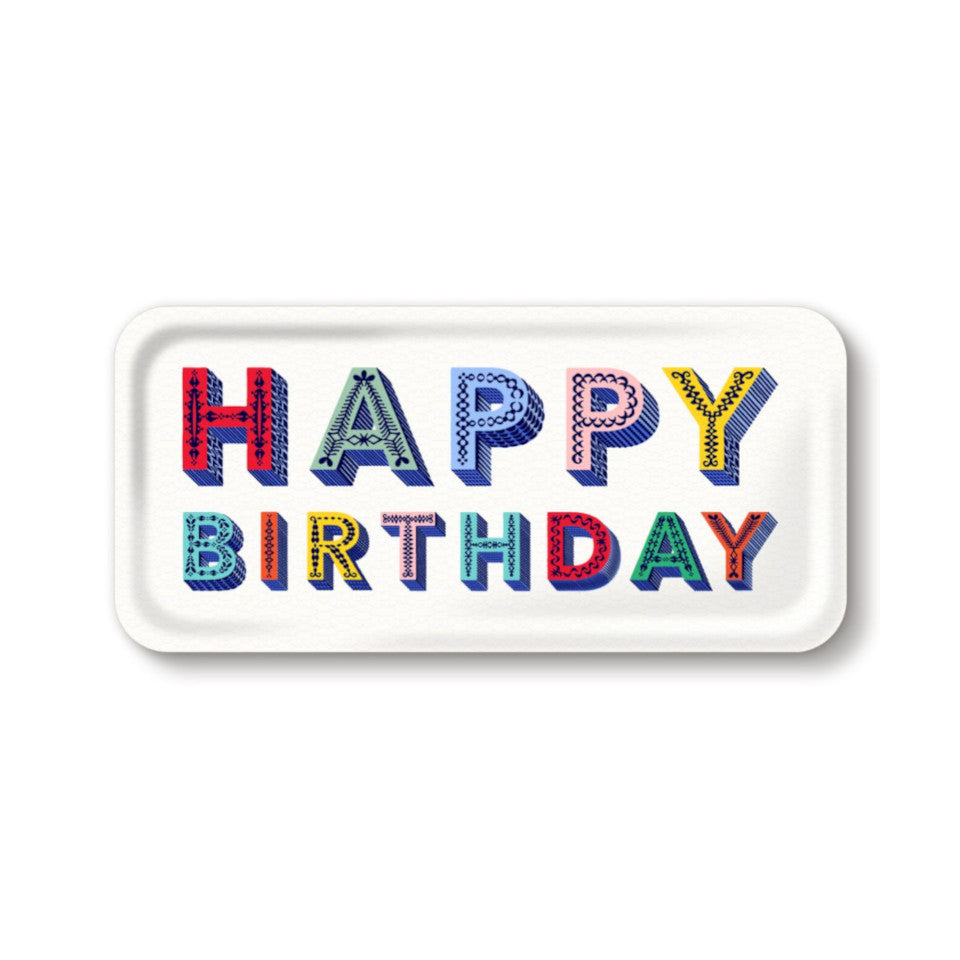HAPPY BIRTHDAY by Asta Barrington, words 'happy birthday' in coloured letters, on white background oblong tray, 32 cm x 15 cm.