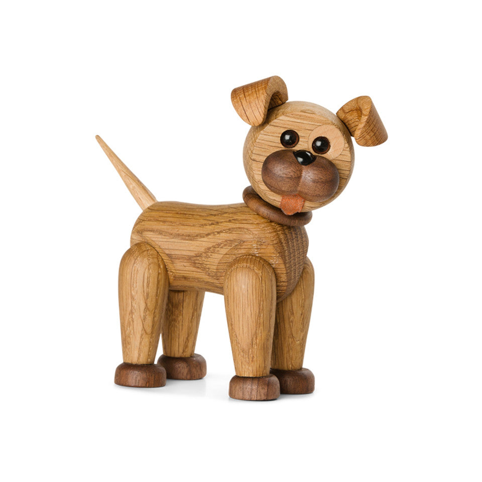 Happy Dog oak, maple and leather figure with adjustable legs and head.