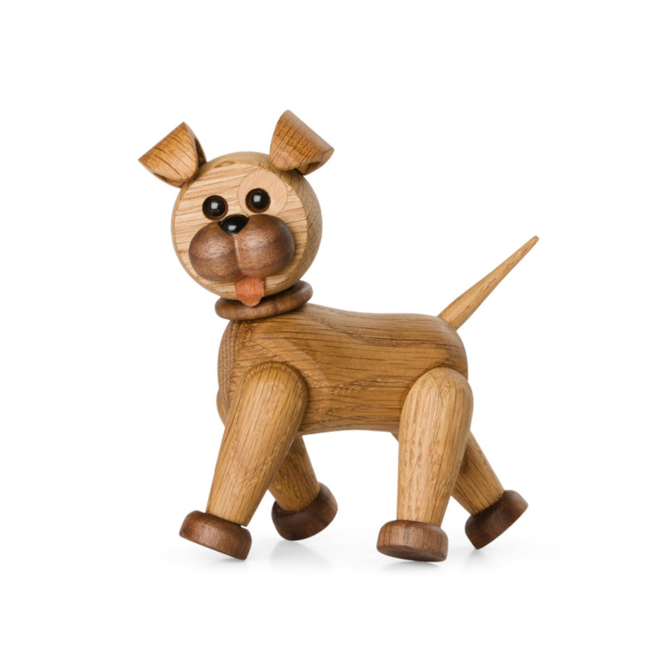 Happy Dog oak, maple and leather figure with adjustable legs and head, walking.
