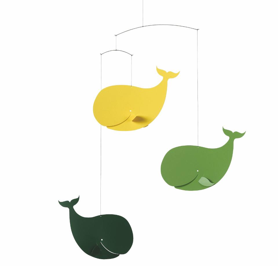 Flensted Happy Whales (yellow and green) mobile.