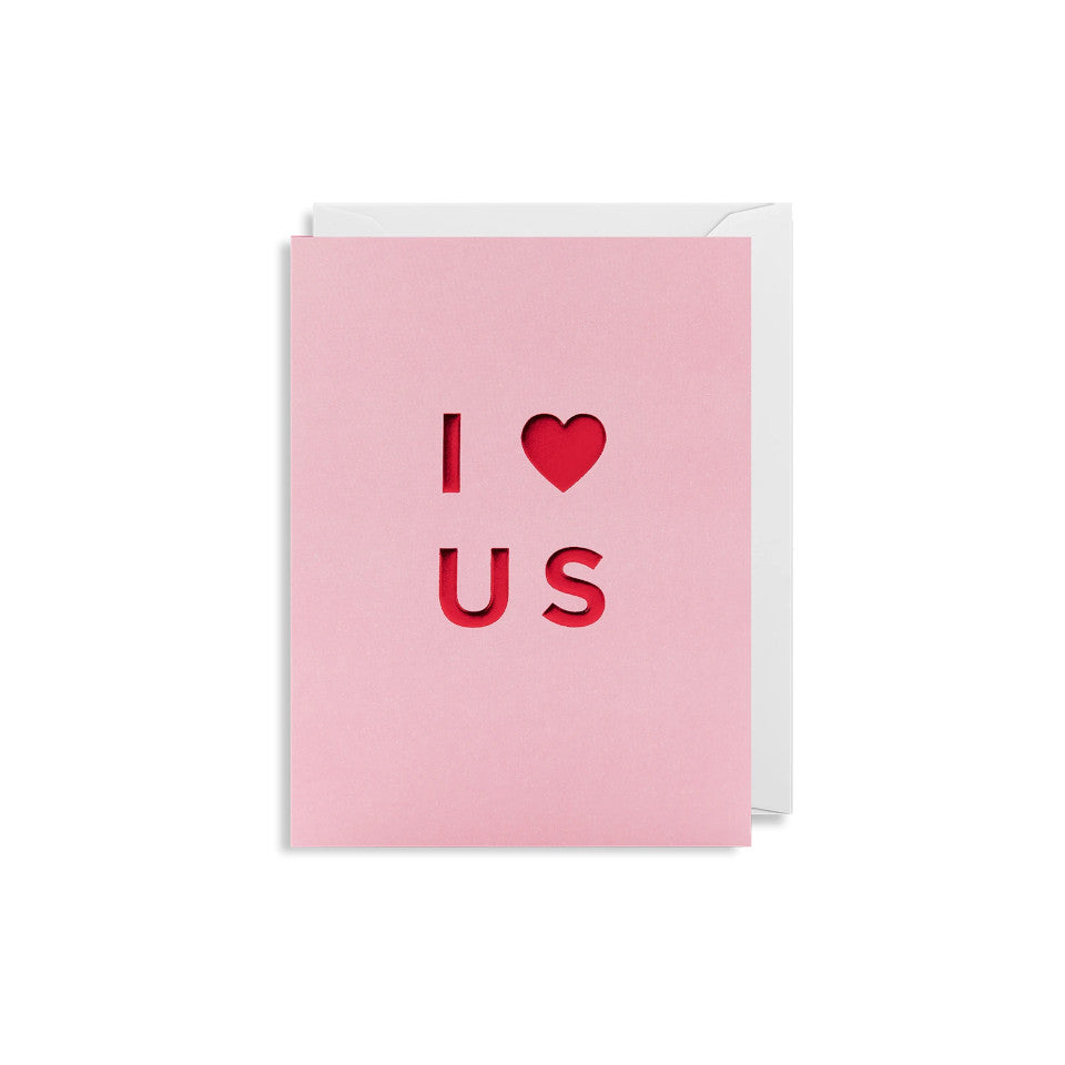 I [heart] Us, blank Valentine card, red lettering on a pink background, with white envelope.