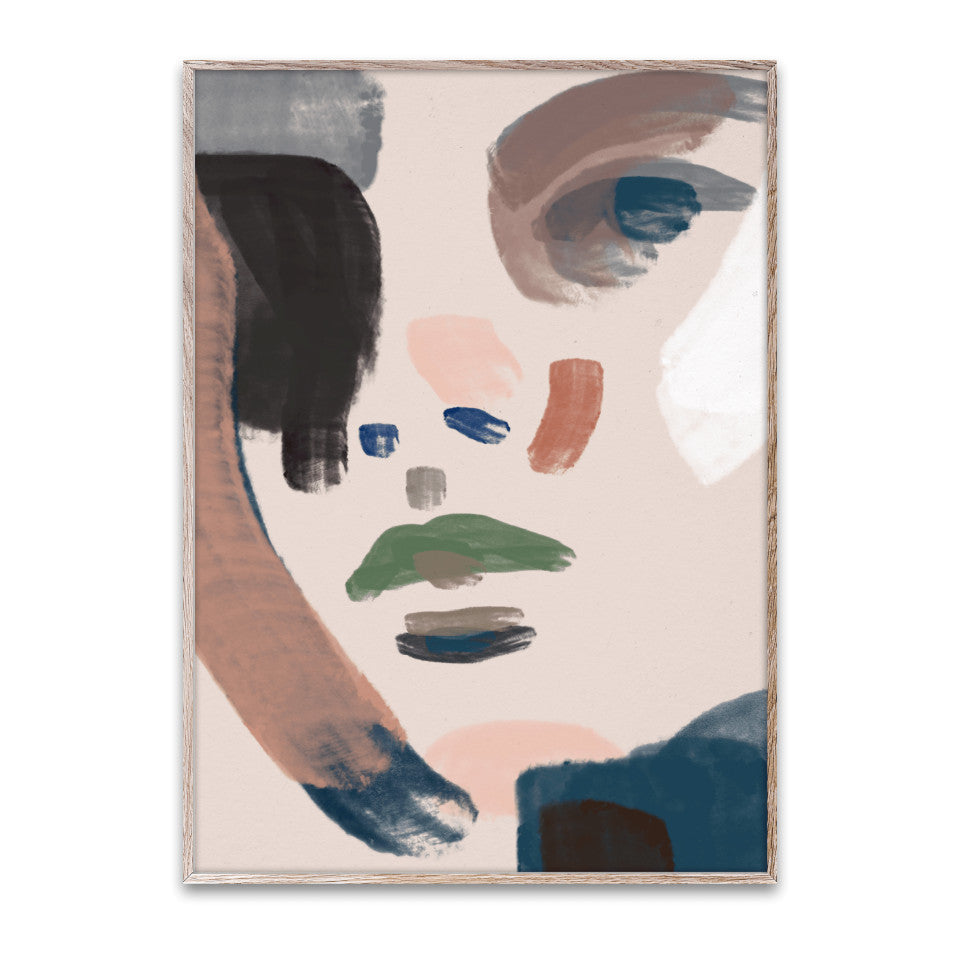 Her 30 x 40 cm unframed print, abstract portrait in blue and earth colours.