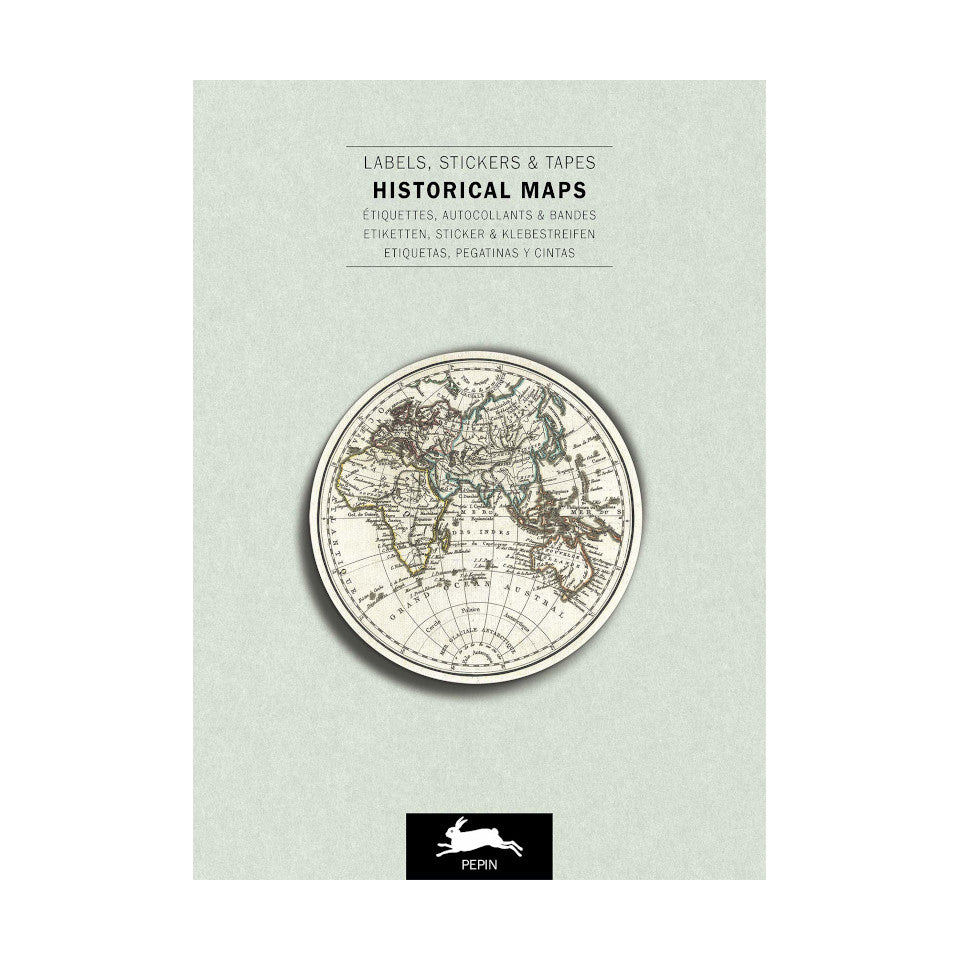 Historical maps labels, stickers and tapes craft book, with 32 sheets.