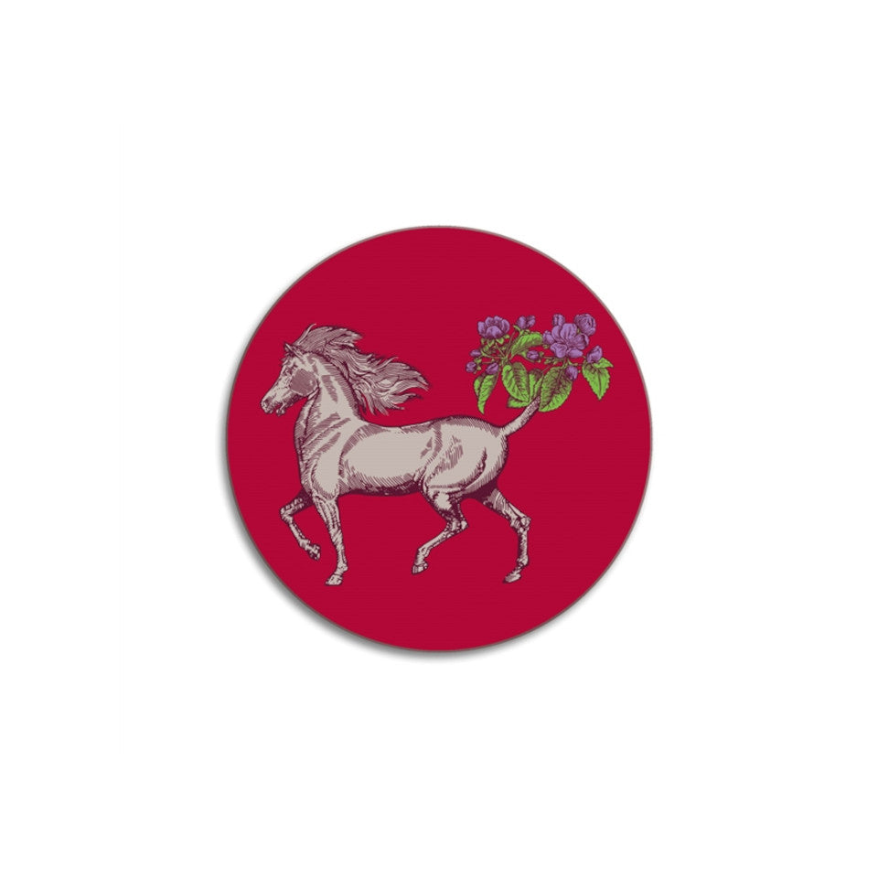 Horse round Animaux by Puddin' Head coaster.