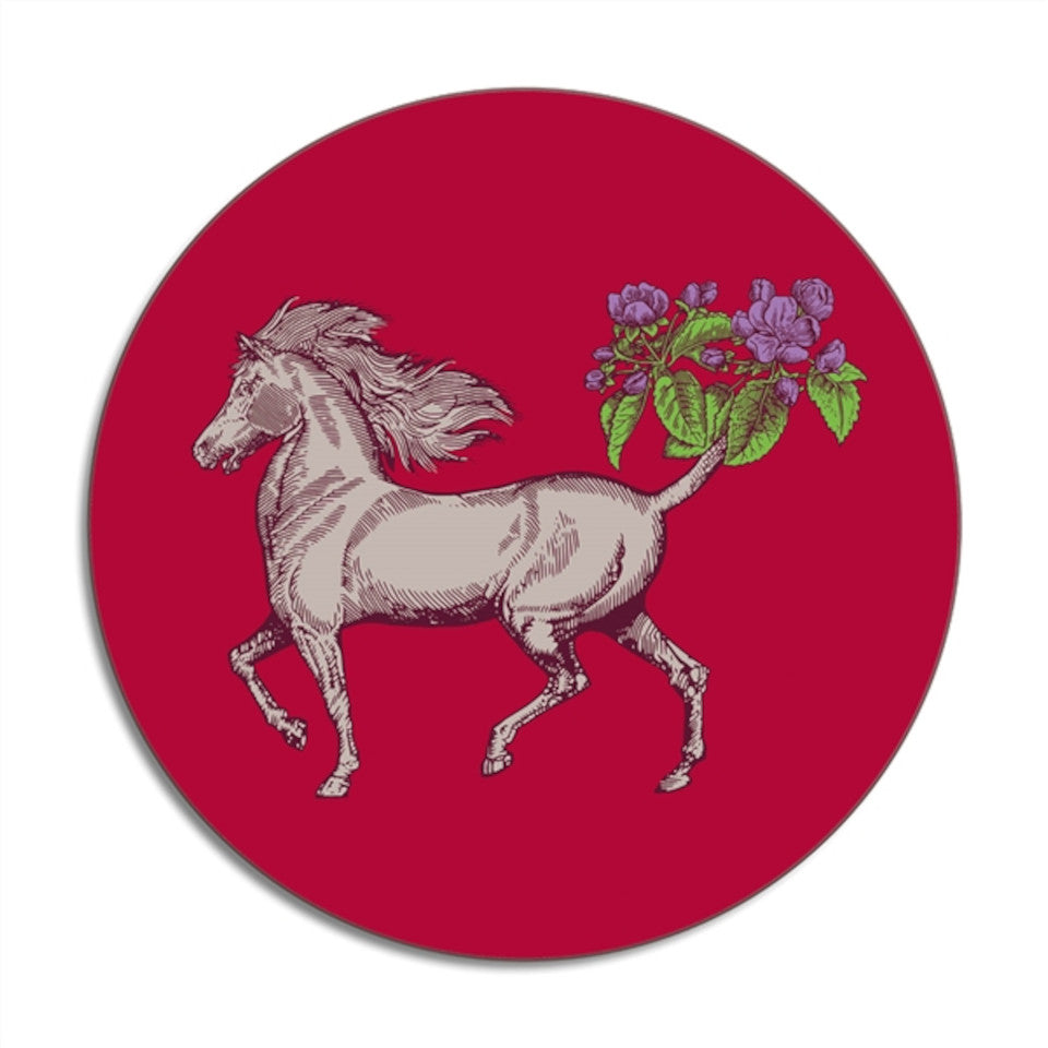 Horse round Animaux by Puddin' Head placemat.
