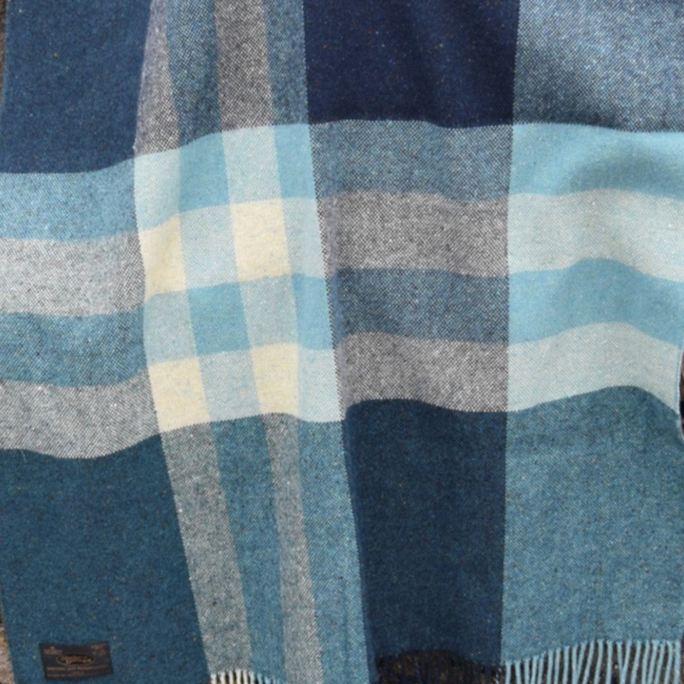 Into the Wild by Studio Donegal, Seascape, large throw, shades of blue and pale grey check.