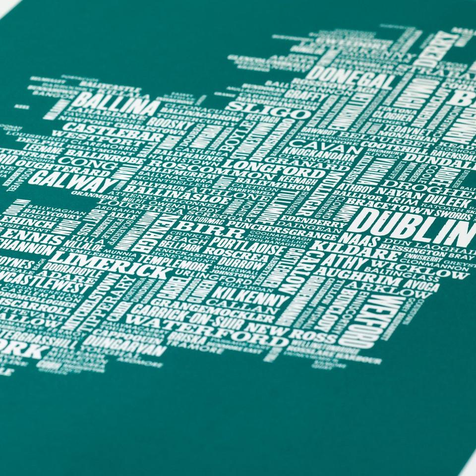 Ireland typographic map, 50 cm x 70 cm, deep sea green, close-up.