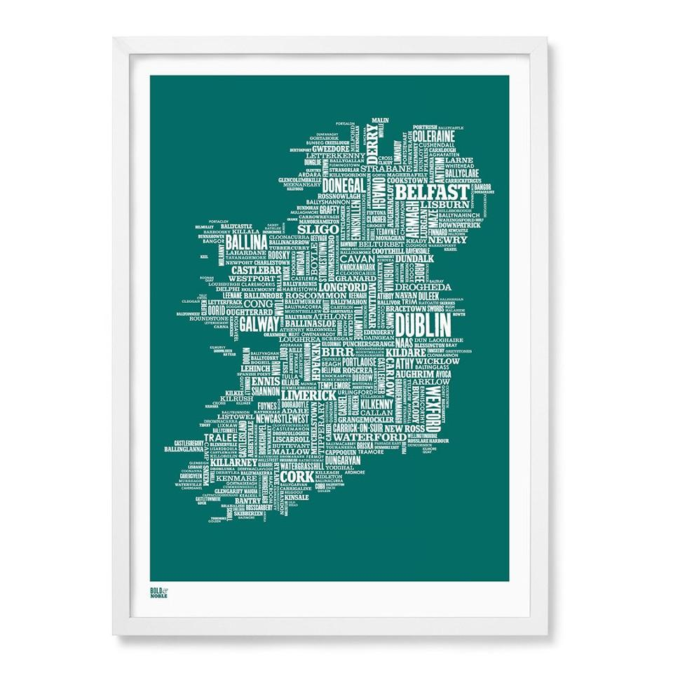Ireland typographic map, 50 cm x 70 cm, deep sea green, pictured framed.
