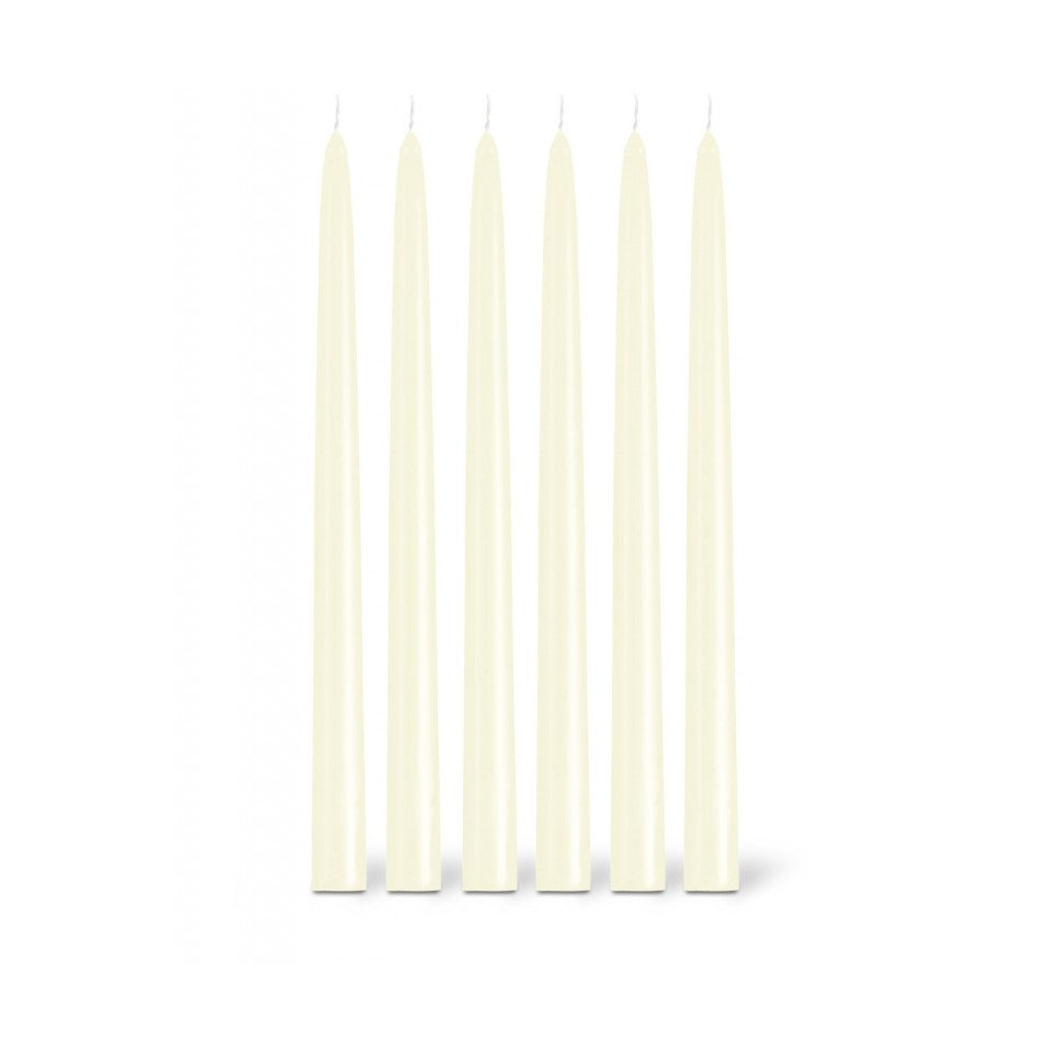 6 ivory taper candles.