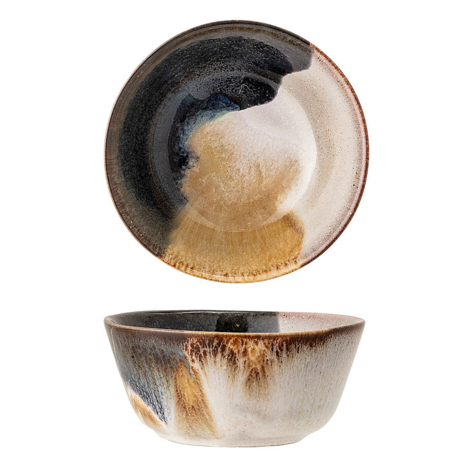 Jules bowl, natural glaze with abstract blue and sand accent glaze, side and top views.