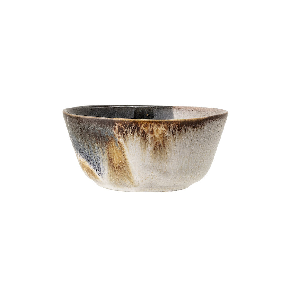 Jules bowl, natural glaze with abstract blue and sand accent glaze.