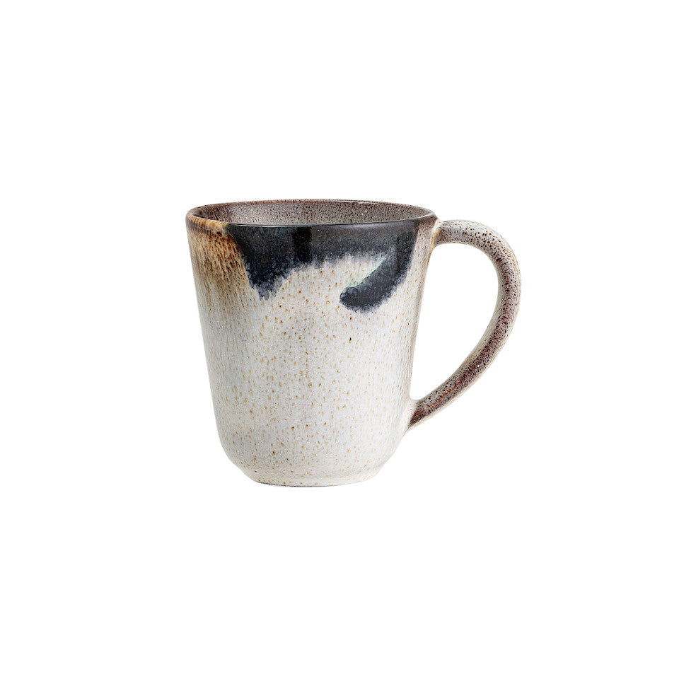Jules mug, natural glaze with abstract blue and sand accent glaze.
