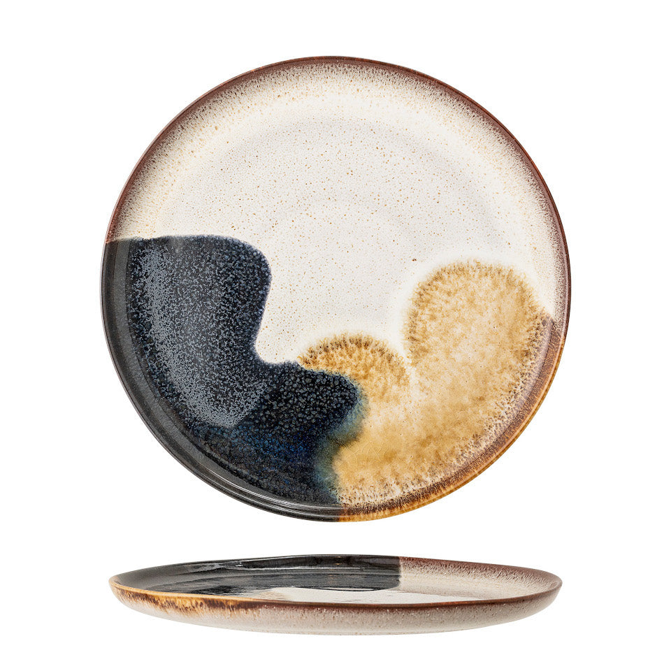 Jules dessert plate, natural glaze with abstract blue and sand accent glaze, side and top views.