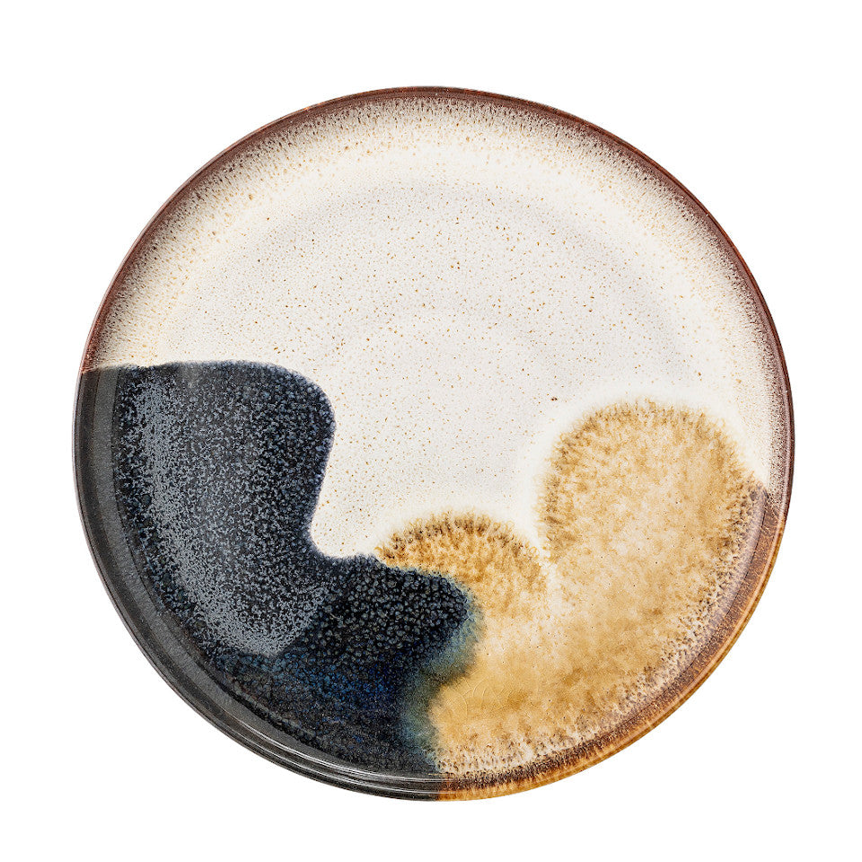 Jules dessert plate, natural glaze with abstract blue and sand accent glaze.