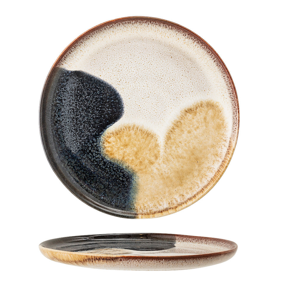 Jules dinner plate, natural glaze with abstract blue and sand accent glaze, side and top views.
