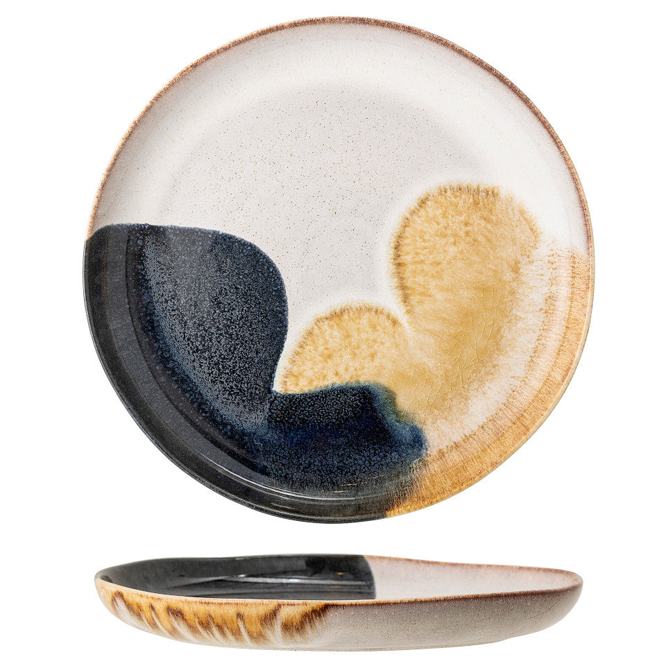 Jules serving plate, natural glaze with abstract blue and sand accent glaze, side and top views.