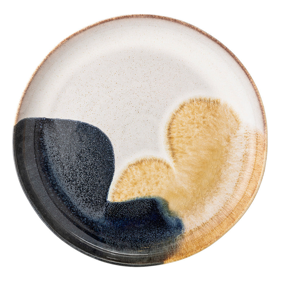 Jules serving plate, natural glaze with abstract blue and sand accent glaze.