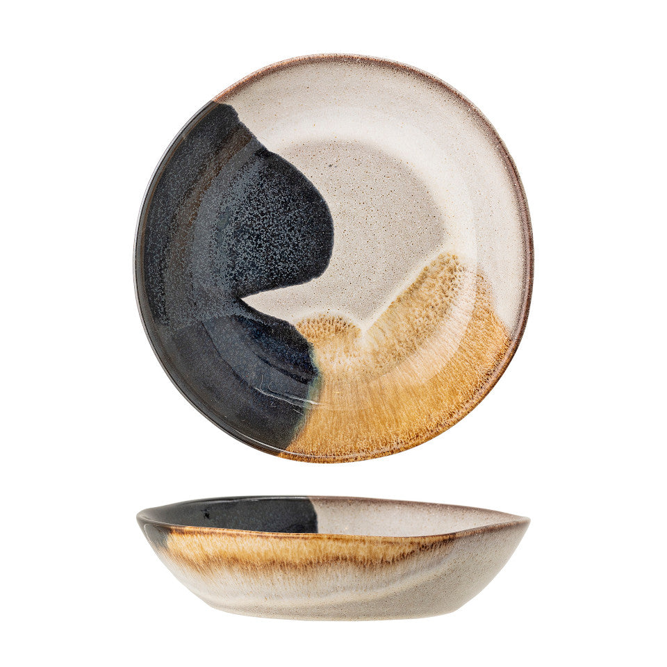 Jules soup bowl, natural glaze with abstract blue and sand accent glaze, top and side views.