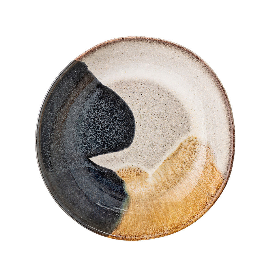 Jules soup bowl, natural glaze with abstract blue and sand accent glaze.