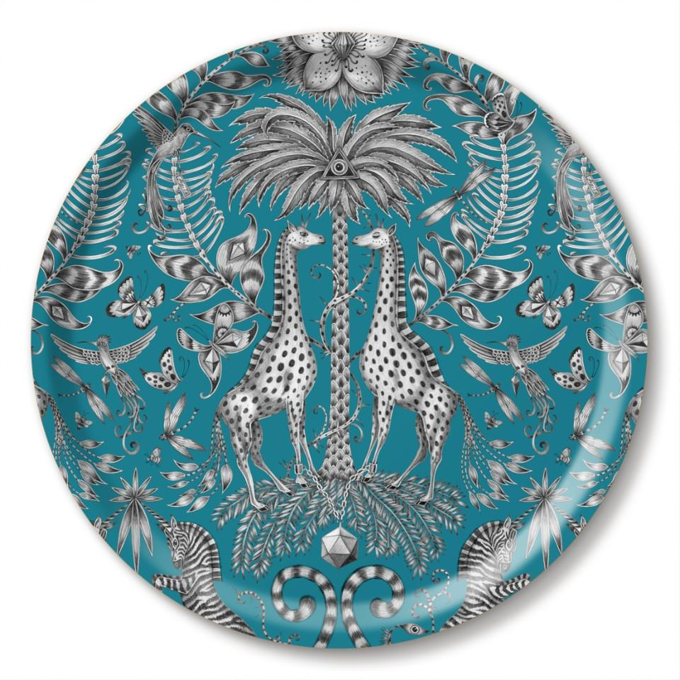 Kruger by Emma J. Shipley teal round tray, 39 cm.