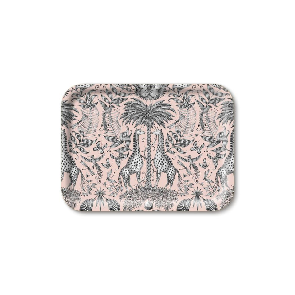 Kruger by Emma J Shipley pink small rectangular tray, 27 x 20 cm.