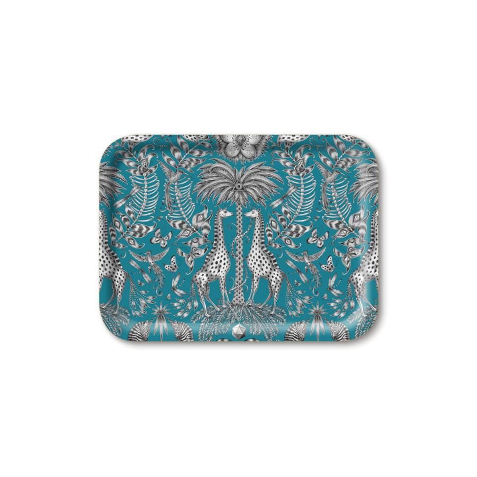 Kruger by Emma J Shipley teal small rectangular tray, 27 x 20 cm.