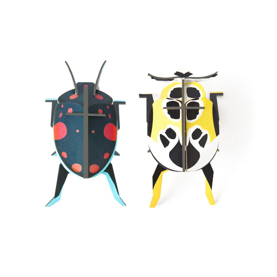 Lady beetles, set of 2 cardboard decorative object.