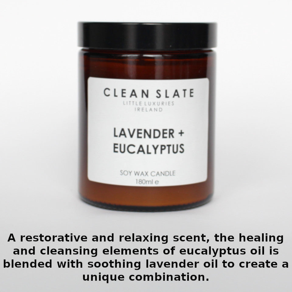 Clean Slate lavender and eucalyptus scented candle in apothecary-style jar, with aroma notes.