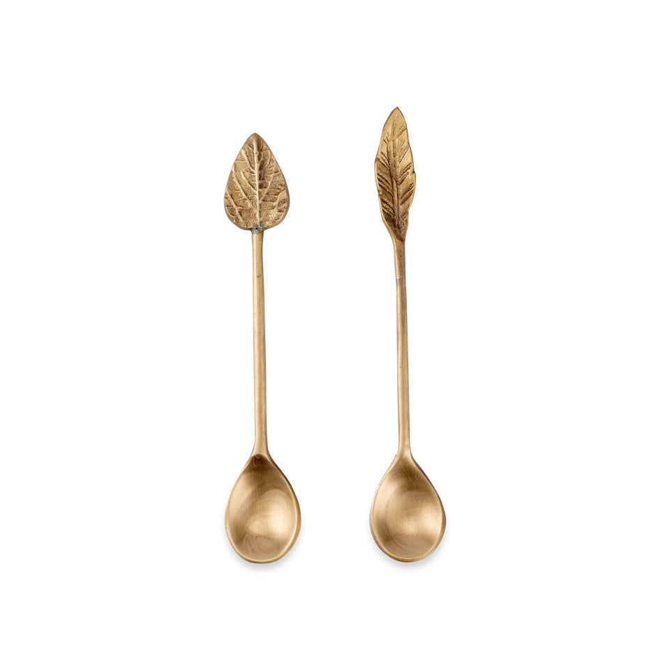 Leaf brass condiment spoons, set of 2.