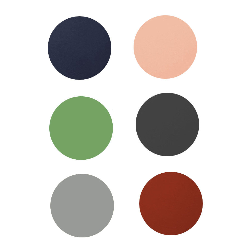 Leather round coasters; top row, l-r: navy,pink; middle row, l-r: mint, dark grey; bottom row, l-r: light grey, brick.