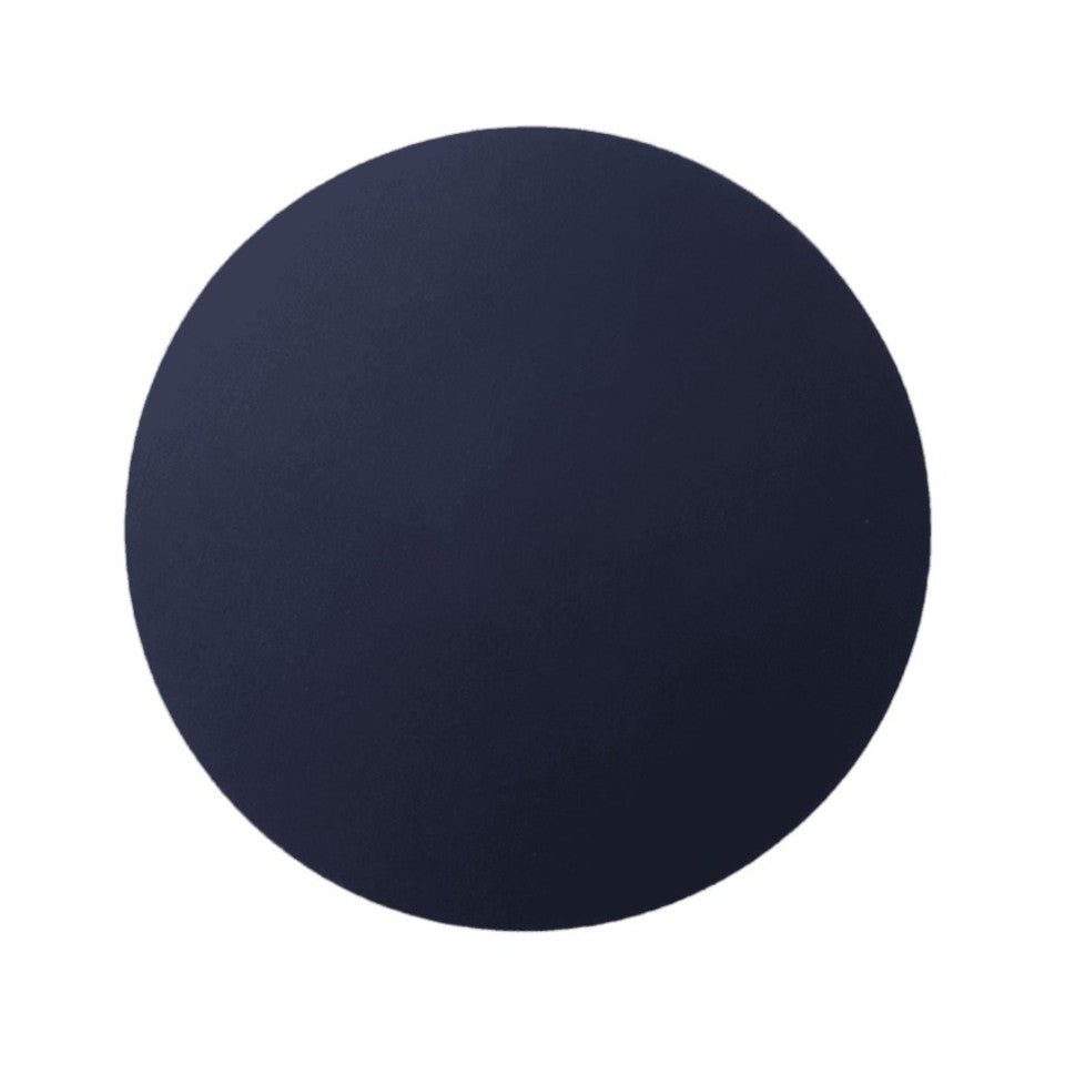 Leather round placemat, navy.