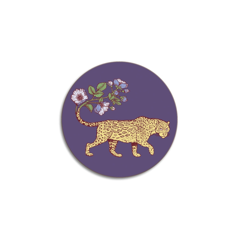 Leopard round Animaux by Puddin' Head coaster.