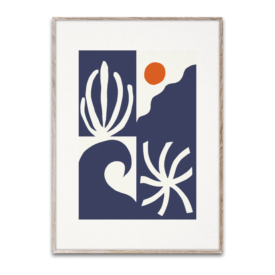Levitation III (3) 30 x 40 cm unframed print, quartered with, clockwise from bottom left quarter, 'wave', 'seaweed', 'sun', and 'anemone' in blue and white, with orange 'sun'.