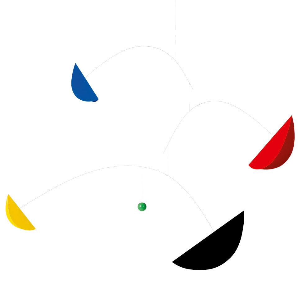 Life and Thread mobile with blue, yellow, black and red 'sails' orbitting a small green globe.