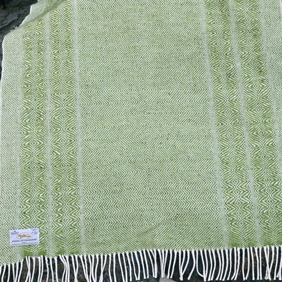 Studio Donegal undulating twill large wool throw, lime.
