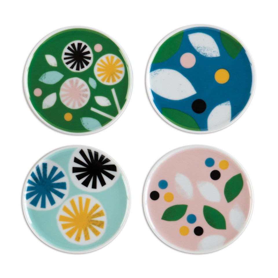 Lorena Siminovich set of 4 porcelain coasters.