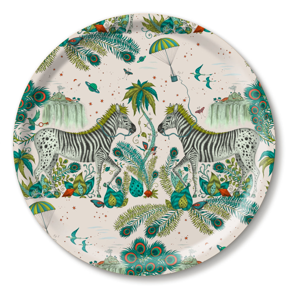 Lost World by Emma J. Shipley mirrored zebra on light background with lime highlights, round tray, 39 cm.
