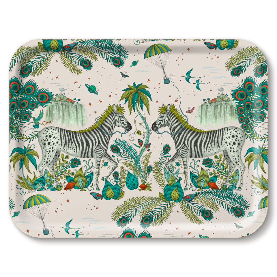 Lost World by Emma J. Shipley mirrored zebra on light background with lime highlights, large rectangular tray, 43 cm x 33 cm.