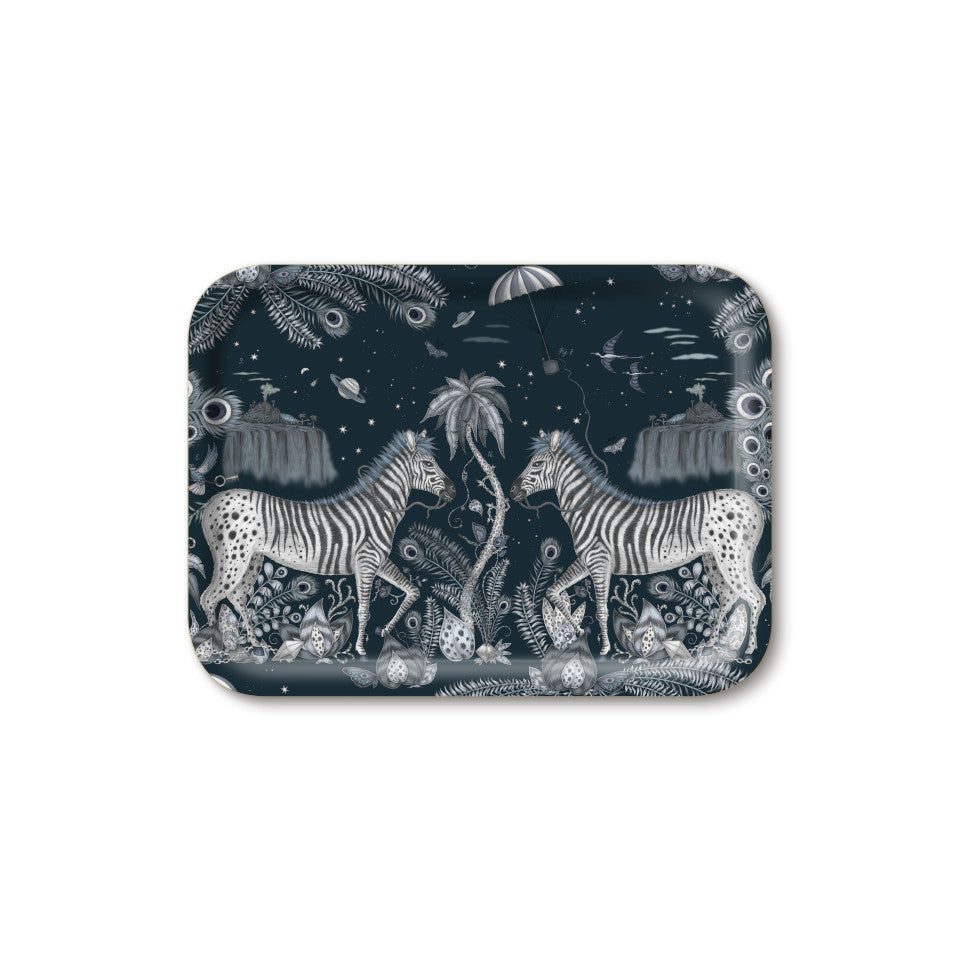 Lost World by Emma J. Shipley mirrored zebra on navy background, small rectangular tray, 27 cm x 20 cm.