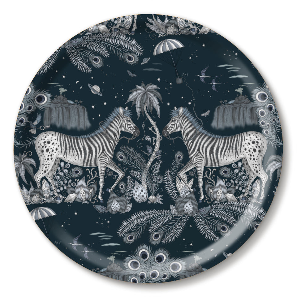 Lost World by Emma J. Shipley mirrored zebra on navy background round tray, 39 cm.