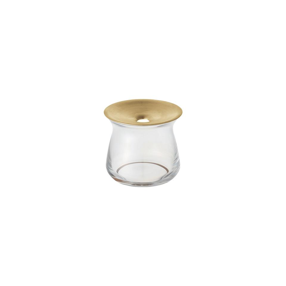 Luna small glass vase with brass collar.