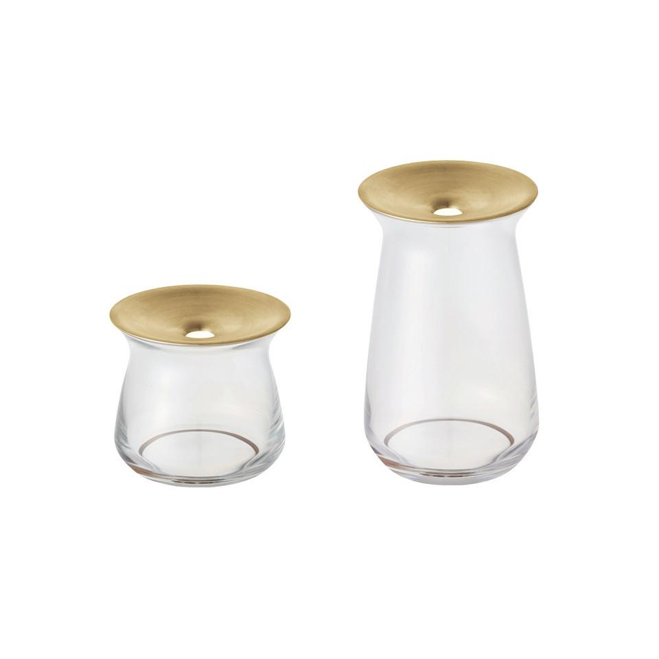 Luna l-r, small and large glass vase with brass collar.