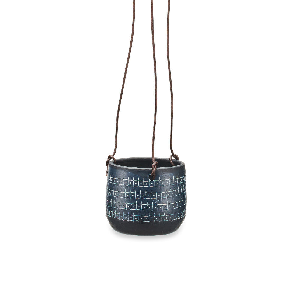 Mahika black metal hanging planter with etched design, small.